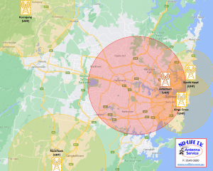 Sydney TV Transmitters Map
